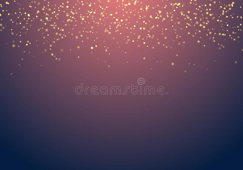 Abstract falling golden glitter lights texture on a dark blue ba vector illustration