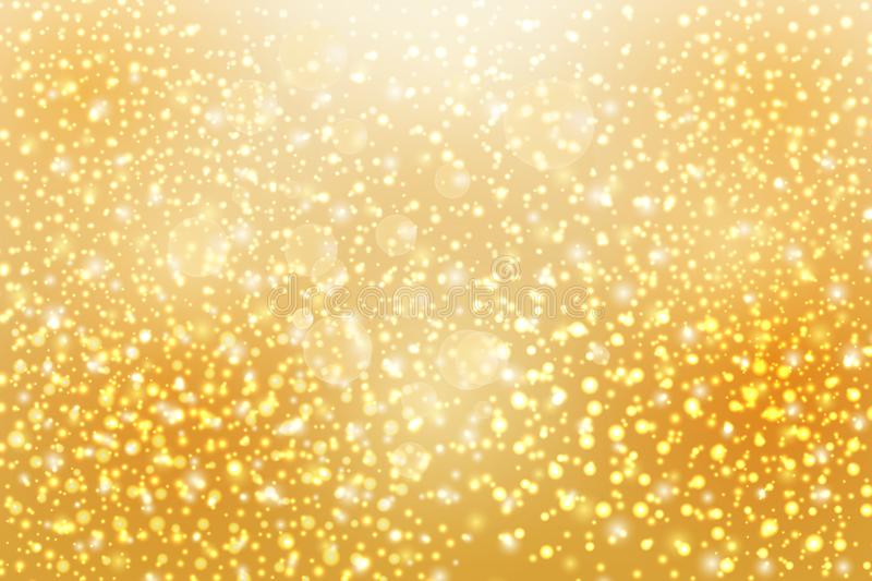 Abstract falling golden lights. Magic gold dust and glare. vector illustration