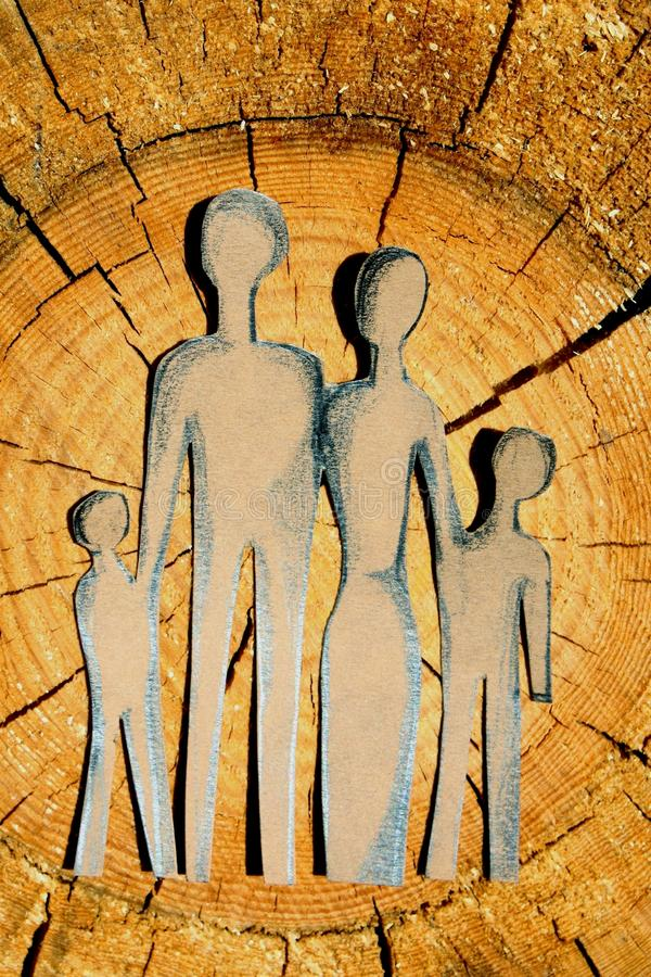 Abstract family on wood royalty free stock photo