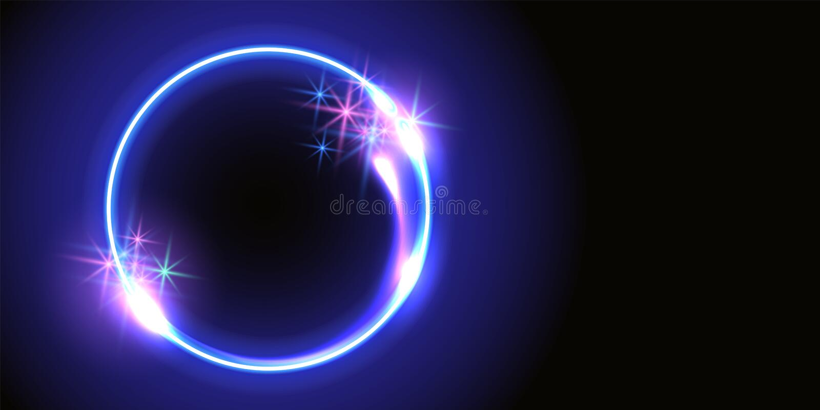 Fantastic background with neon round frame, sparkle stars and space portal into another dimension. Abstract fantastic background with neon round frame, sparkle vector illustration