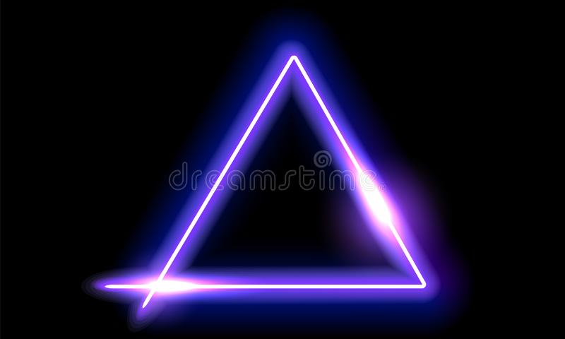 Fantastic background with neon trigonal frame and space portal into another dimension stock photos