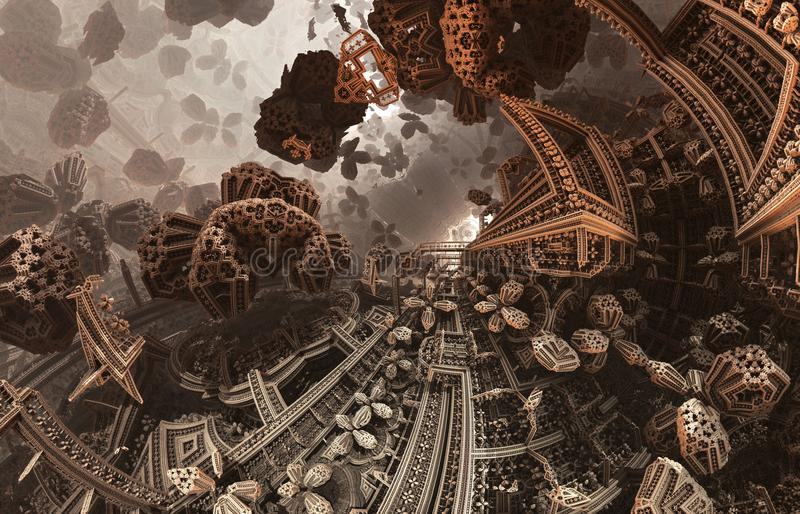 Abstract fantastic poster or background. Futuristic view from inside of the fractal. Architectural pattern. stock illustration