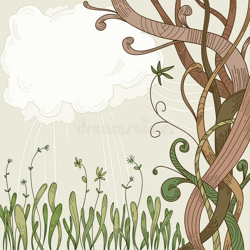 Abstract fantasy tree and plant background royalty free illustration