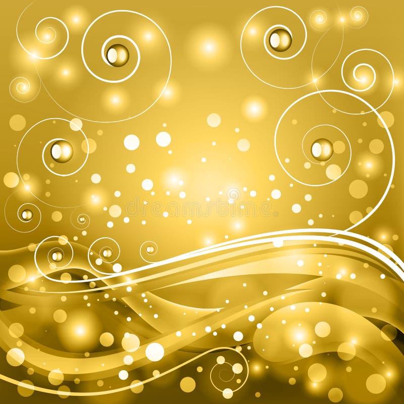 Abstract fantasy vector background. Golden fantasy vector background with stylized curls and bokeh vector illustration