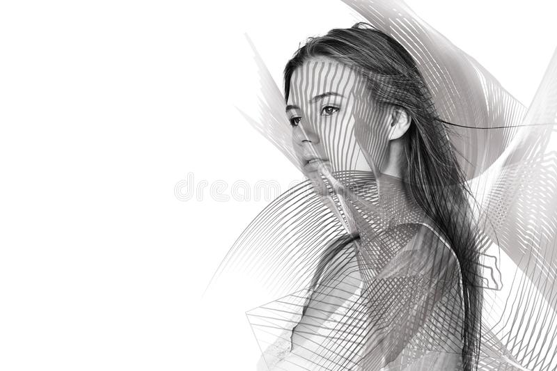 Abstract fantasy woman face. Double exposure. Smiling young woman posing. Female portrait concept royalty free stock photo
