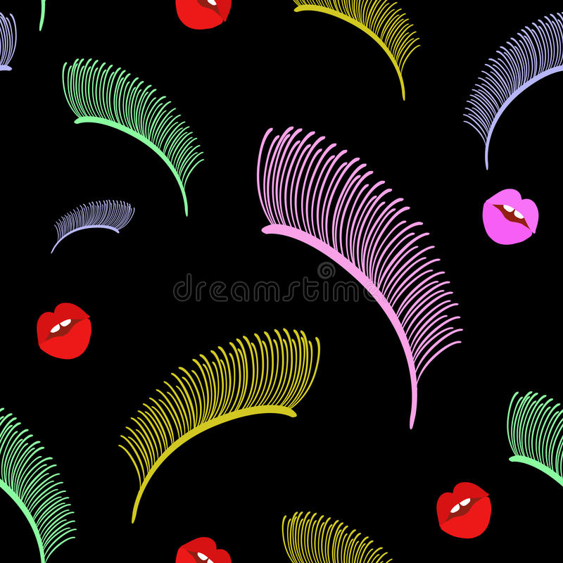 Abstract fashion pop art, beauty, Makeup. Lipstick, lips, eyelashes, Set in cartoon, comic style. seamless pattern, texture female spring summer, design color vector illustration