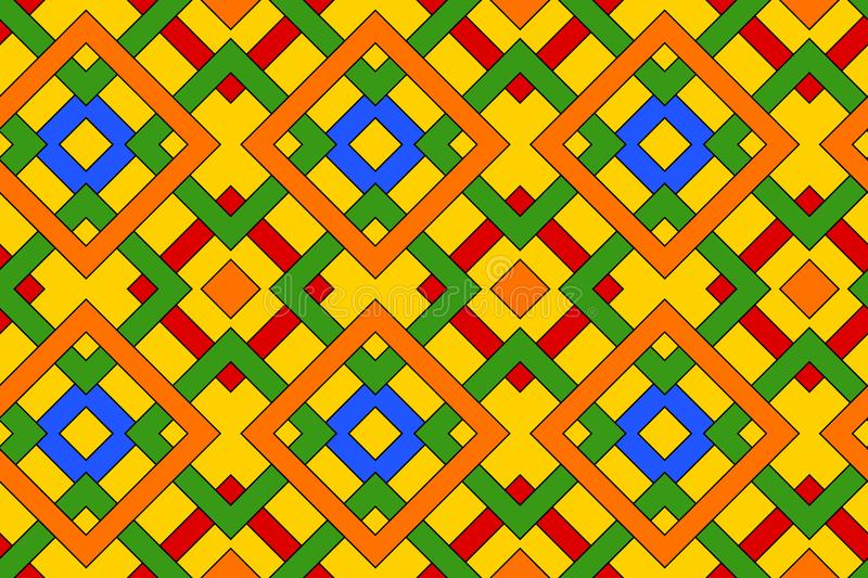 Geometric seamless pattern with celtic ornament of red, blue, green, orange, and yellow shades stock illustration