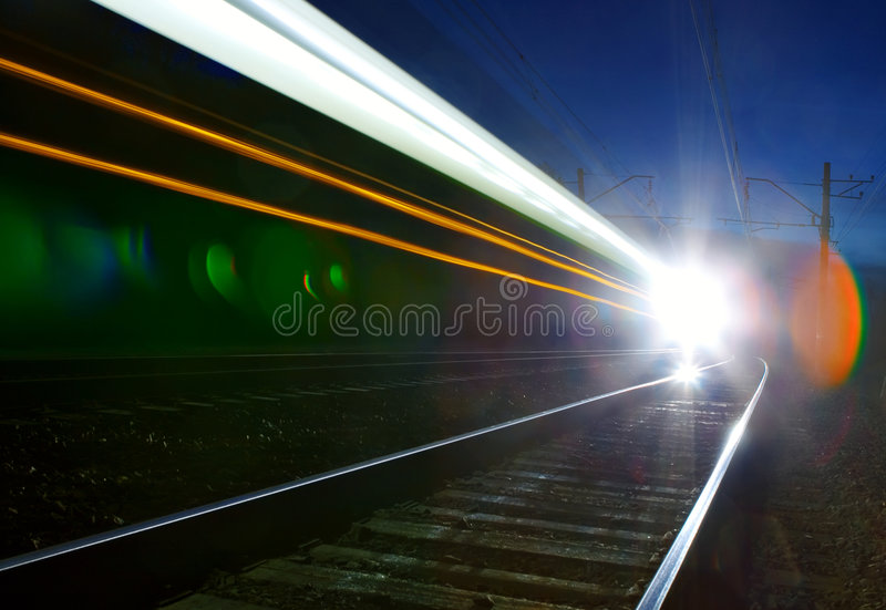 Abstract of fast train passing by stock image