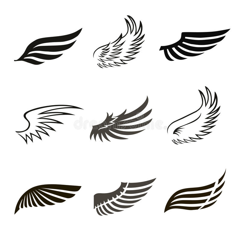 Abstract feather angel or bird wings icons set stock illustration