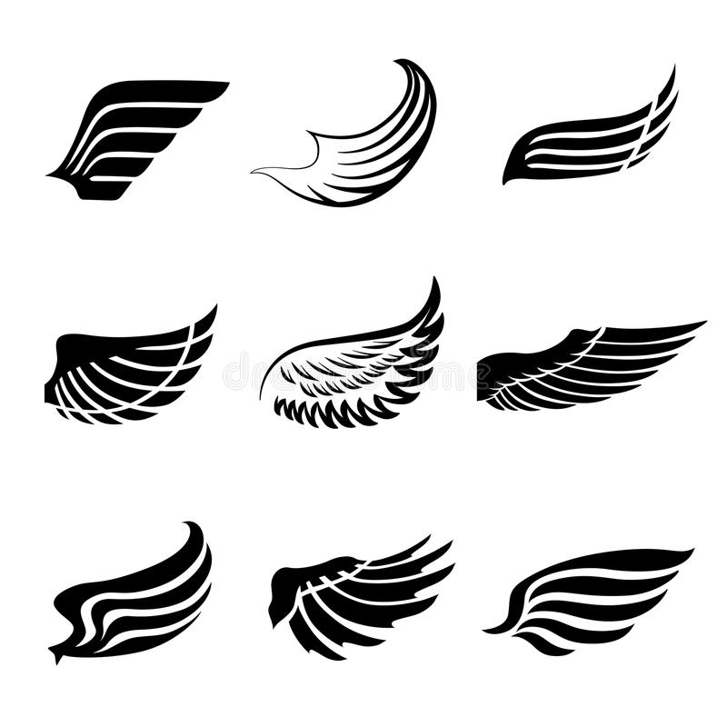 Abstract feather wings icons set. Abstract feather angel or bird wings icons set isolated vector illustration stock illustration
