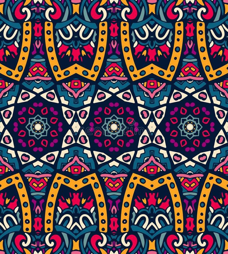 Abstract feestelijk kleurrijk etnisch stammenpatroon stock illustratie