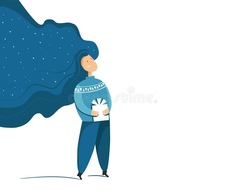 Abstract female character with a gift. Christmas or New Year greeting card in blue color. Snowing in hair. Cartoon flat vector illustration