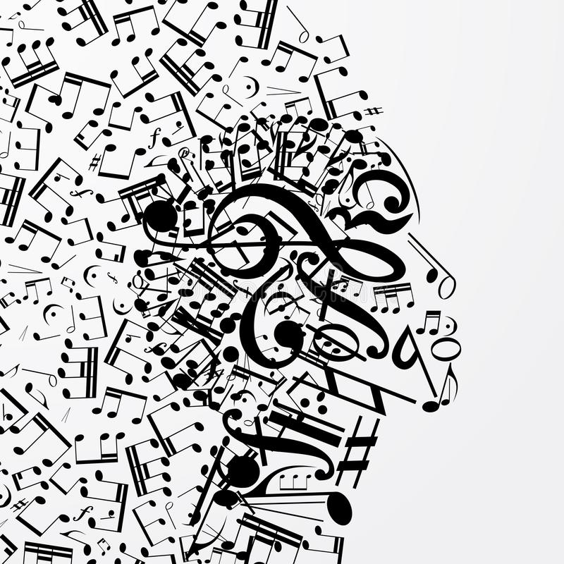 Abstract female profile composed of musical signs, notes. stock illustration