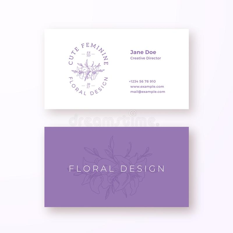 Abstract Feminine Flower Vector Sign Or Logo And Business Card ...
