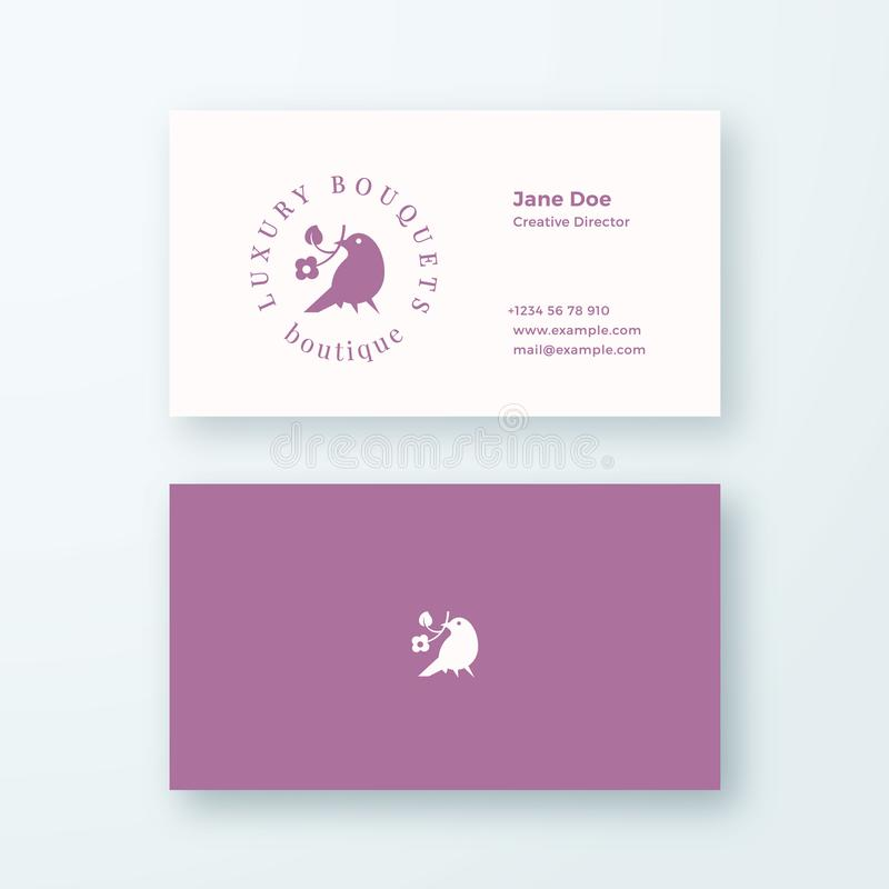 Abstract Feminine Vector Sign, Symbol or Logo and Business Card Template. Premium Stationary Realistic Mock Up. Modern stock illustration