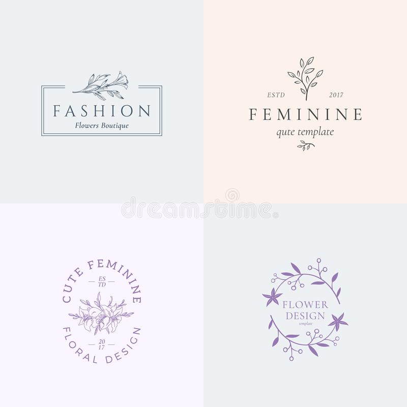 Abstract Feminine Vector Signs or Logo Templates Set. Retro Floral Illustration with Classy Typography. Premium Quality vector illustration