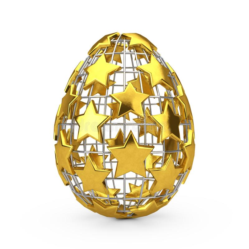 Abstract Fence Easter Egg with Golden Stars. 3d Rendering royalty free illustration