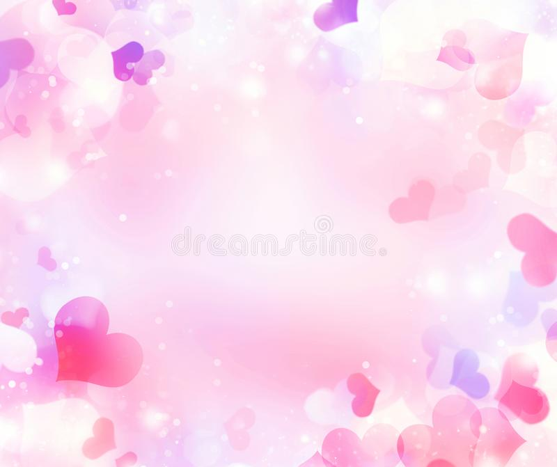 Abstract festive blur bright pink pastel background with colorful hearts love bokeh for wedding card or Valentine's day. Roman stock illustration