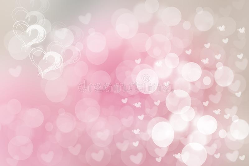 Abstract festive blur bright pink pastel background with white and pink hearts love bokeh for valentine or wedding card. Space for royalty free illustration