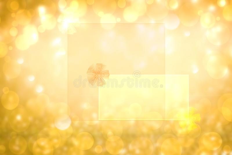 Abstract festive golden glitter background texture with a frame with ribbon bow on transparent letters. Made for valentine, stock photos