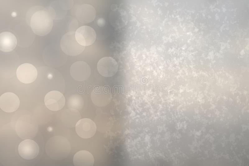 Abstract festive gradient gray silver bokeh background texture with frame for design and bokeh lights. Beautiful backdrop with royalty free illustration