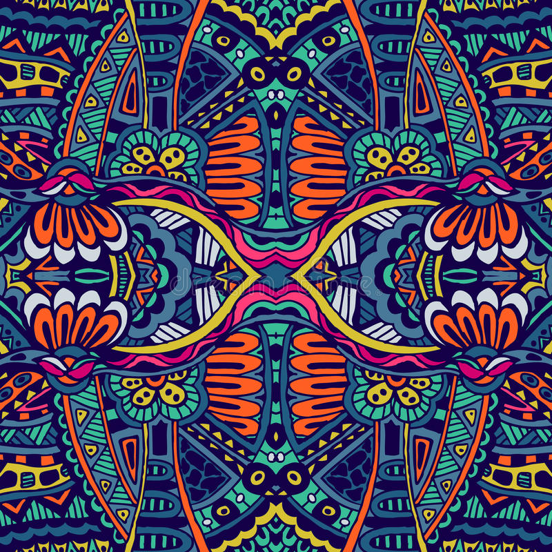 Abstract festiveal ethnic tribal pattern. Abstract festive colorful grunge vector ethnic tribal pattern stock illustration