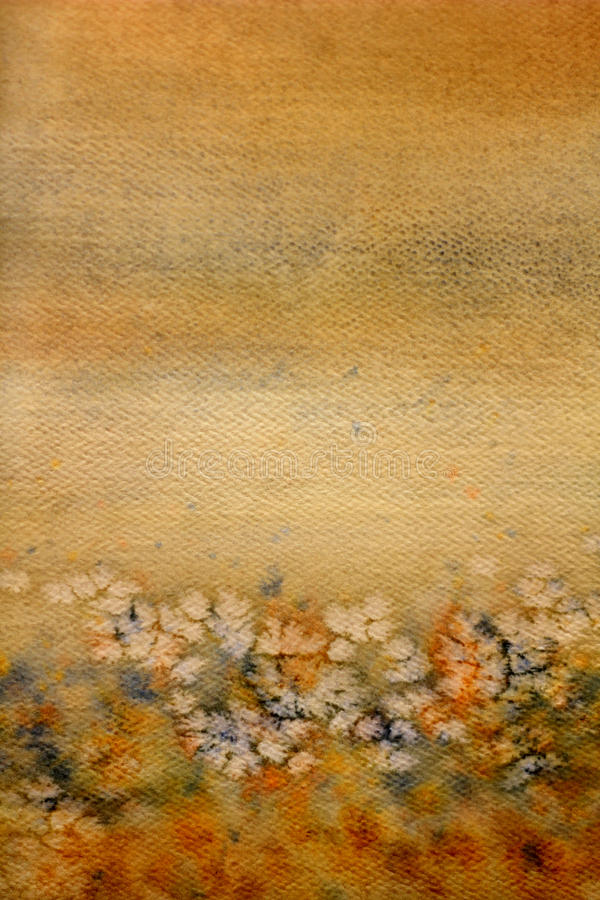 Abstract field flowers on grunge textured paper.