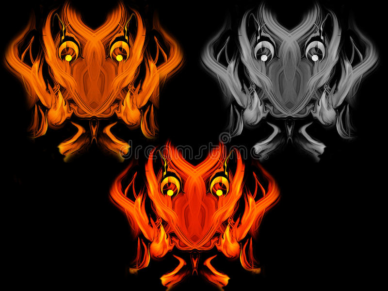 Abstract fiery devil faces