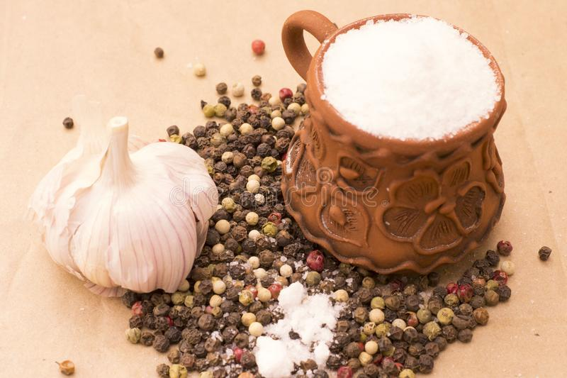 Fugural still life photo image of pile of spices, garlic, craft stock image