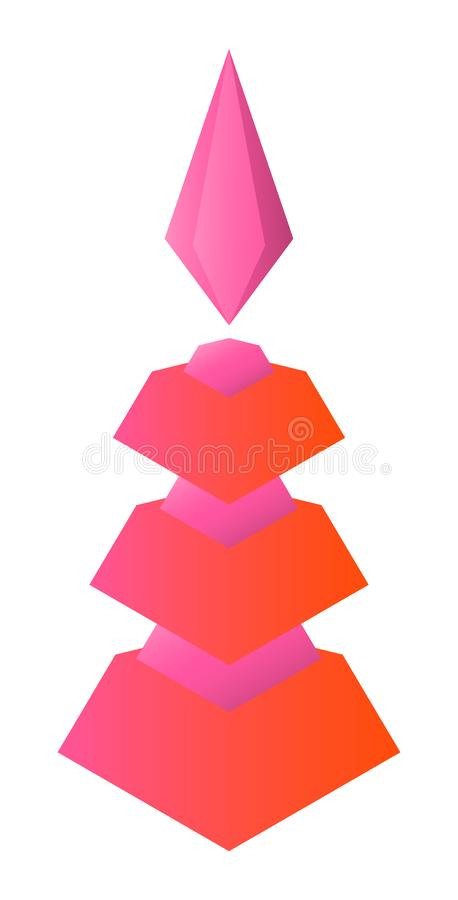 Abstract figure of a six-tier tower with a diamond crystal on top. On white background vector illustration