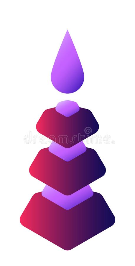 Abstract figure of a six-tier tower with a drop on top. On white background royalty free illustration