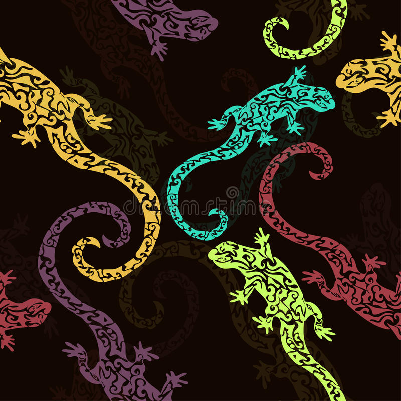 Abstract figured lizards, seamless pattern, print. Multicolored reptile on a dark background. For fabric design, textile stock photos