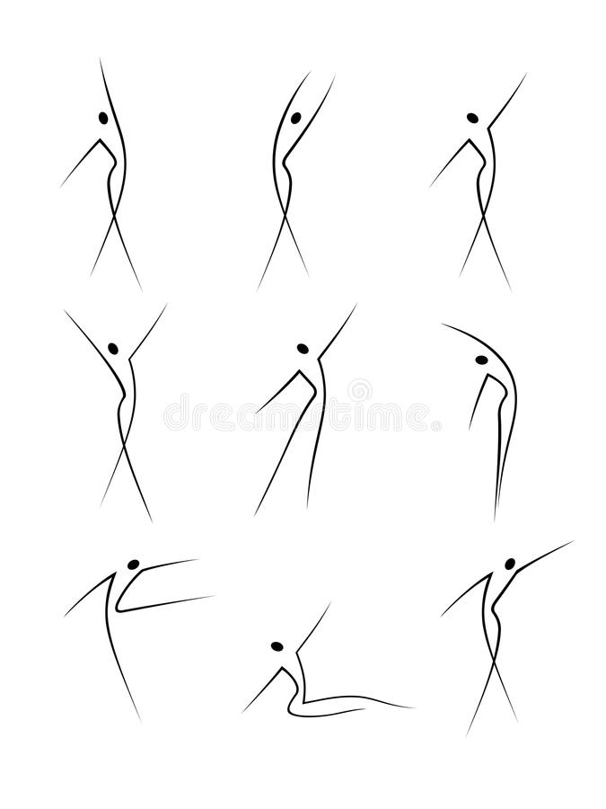 Abstract figures in movement. Abstract female figures in movement vector illustration