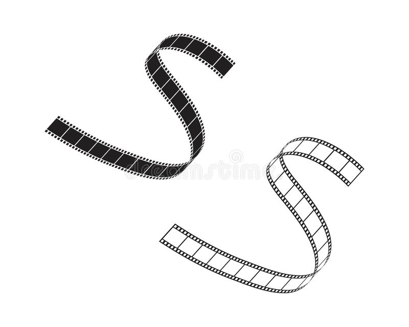 Abstract film icon vector illustration. Template design reel movie video cinema camera filmstrip entertainment white background logo roll symbol black equipment royalty free illustration