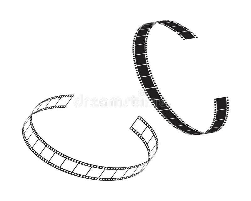 Abstract film icon vector illustration. Template design reel movie video cinema camera filmstrip entertainment white background logo roll symbol black equipment stock illustration