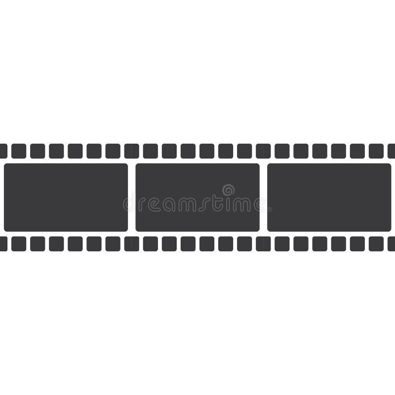 Abstract film icon vector illustration. Template design reel movie video cinema camera filmstrip entertainment white background logo roll symbol black equipment stock illustration