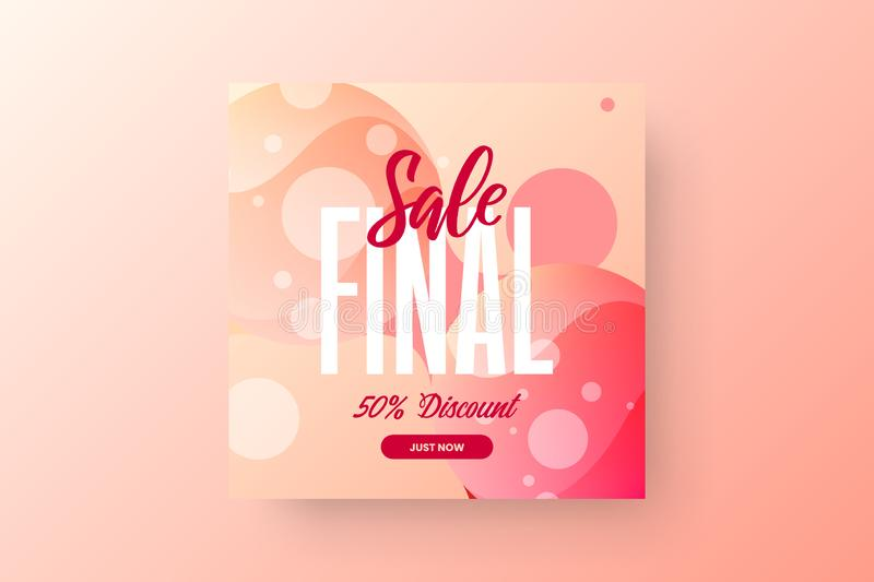 Abstract final sale vector banner template. 50% discount social media promotion illustration layout. Advertising shopping design. vector illustration