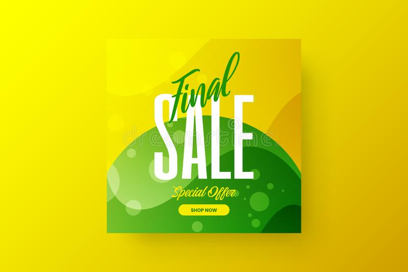 Abstract final sale vector design banner template. Marketing special offer discount social media promotion illustration layout. vector illustration