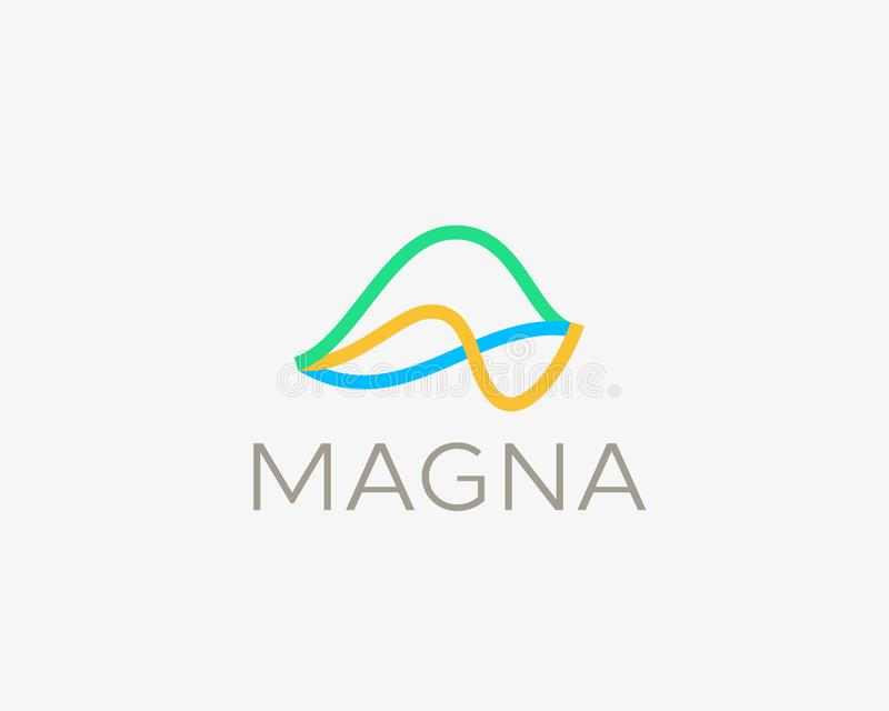 Abstract finance line icon logo. Stock exchange graph logo symbol. Wave, market chart, motion vector sign symbol. stock illustration