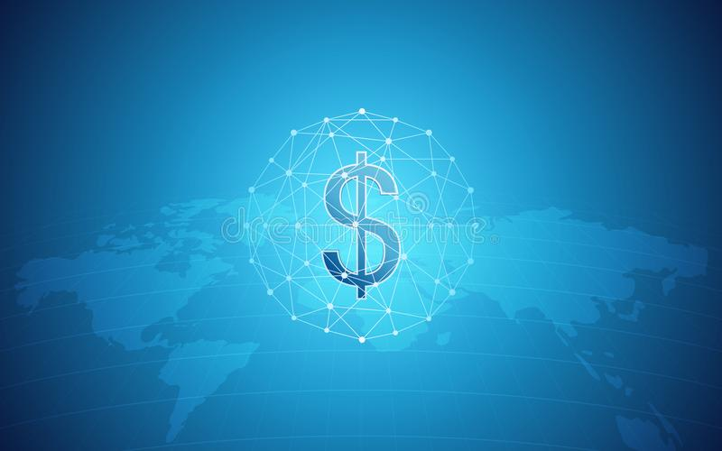 Abstract financial background with dollar sign in network sphere and world map on gradient blue color vector illustration