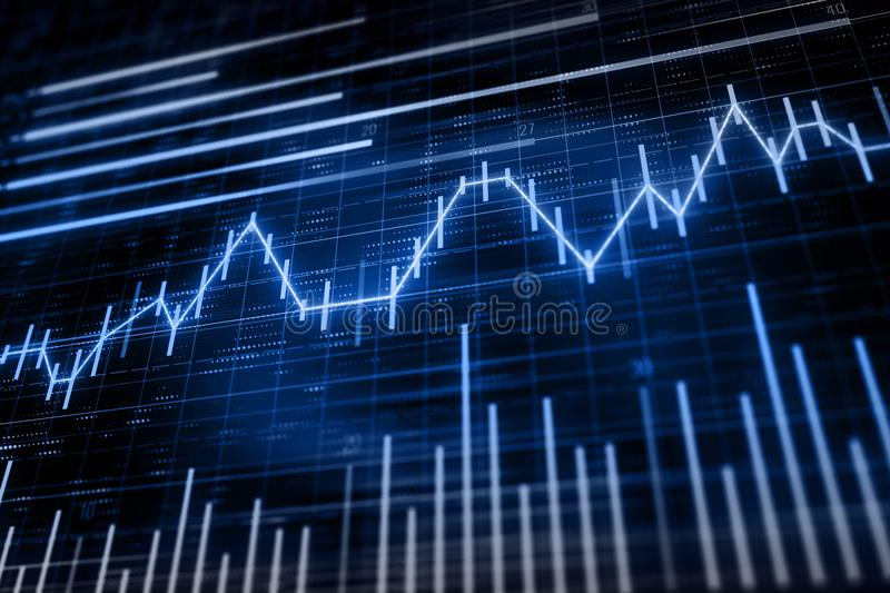 Financial chart with candlesticks. Abstract financial chart with line graph and candlesticks on dark blue color background. 3D render vector illustration