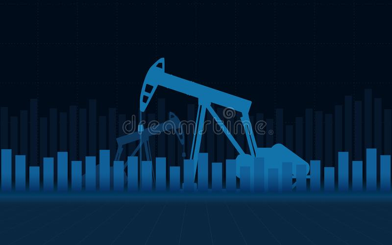 Abstract financial chart with Oil rig and stock market on blue color background stock illustration
