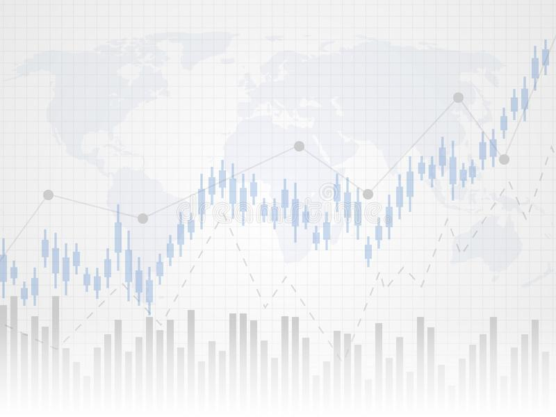 Abstract financial chart with uptrend line graph. Candle stick graph of investment trading on world map as background. stock illustration