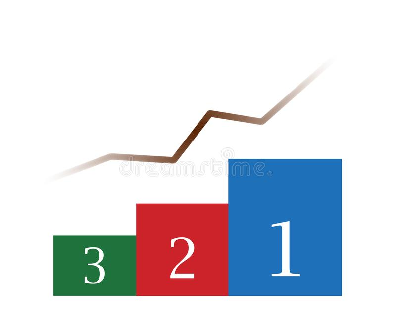 Abstract Financial Growth Bars and Line. Displaying numbers 3 2 1 royalty free stock photos
