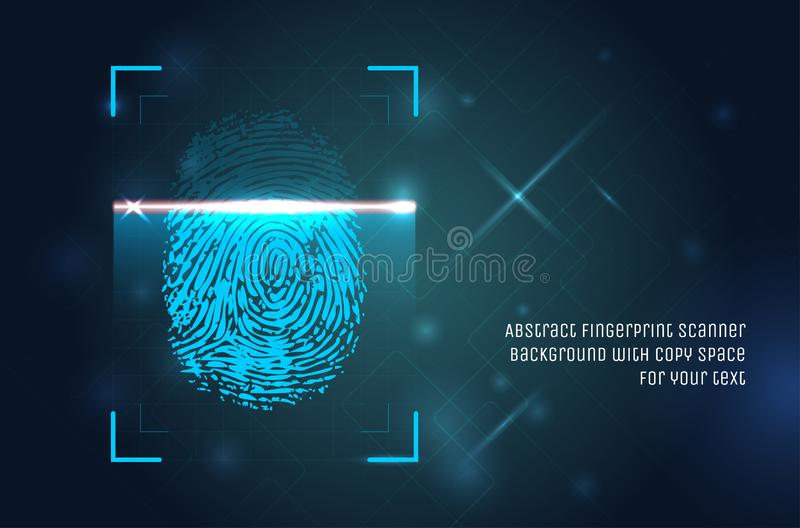 Abstract fingerprint scanner background with copy space vector illustration