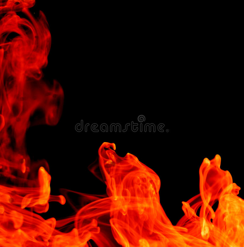 Abstract fire background. Isolated on black stock image