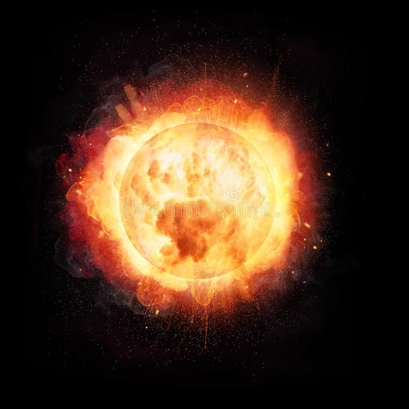 Abstract fire ball explosion like the Sun concept on black background. Abstract fire ball explosion like the Sun concept, on black background stock image