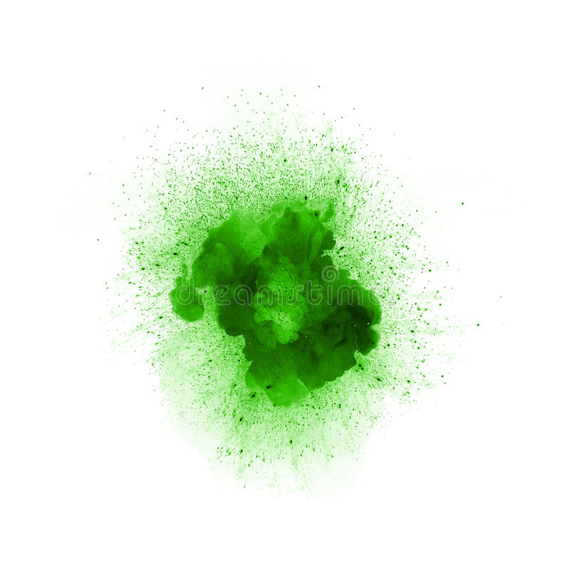 Abstract fire explosion, green color with sparks. Isolated on white background royalty free illustration