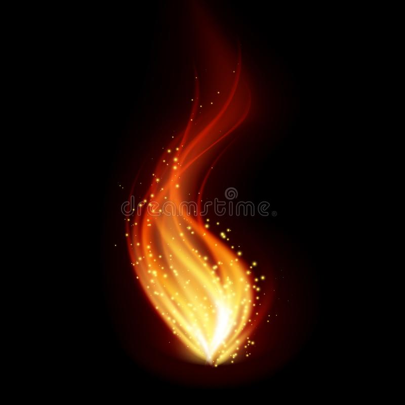 Abstract fire flames on black background. Graphic concept for your design royalty free illustration