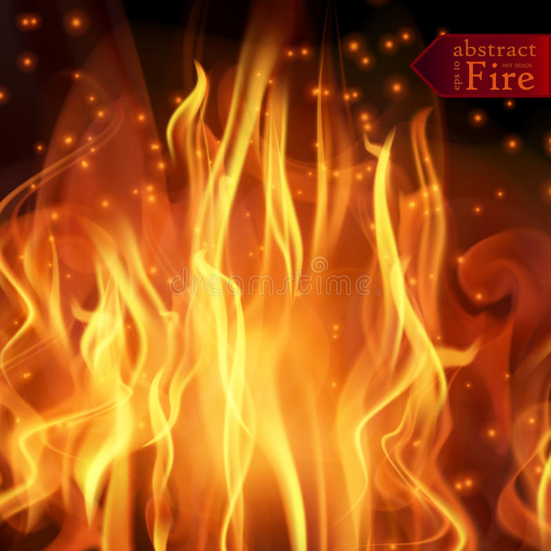 Abstract fire flames vector background. Illustration Hot Fire. With glowing text in flames. EPS 10 stock illustration